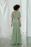 V-neckline wrap bridesmaids dress with a double split sleeve in flat chiffon
