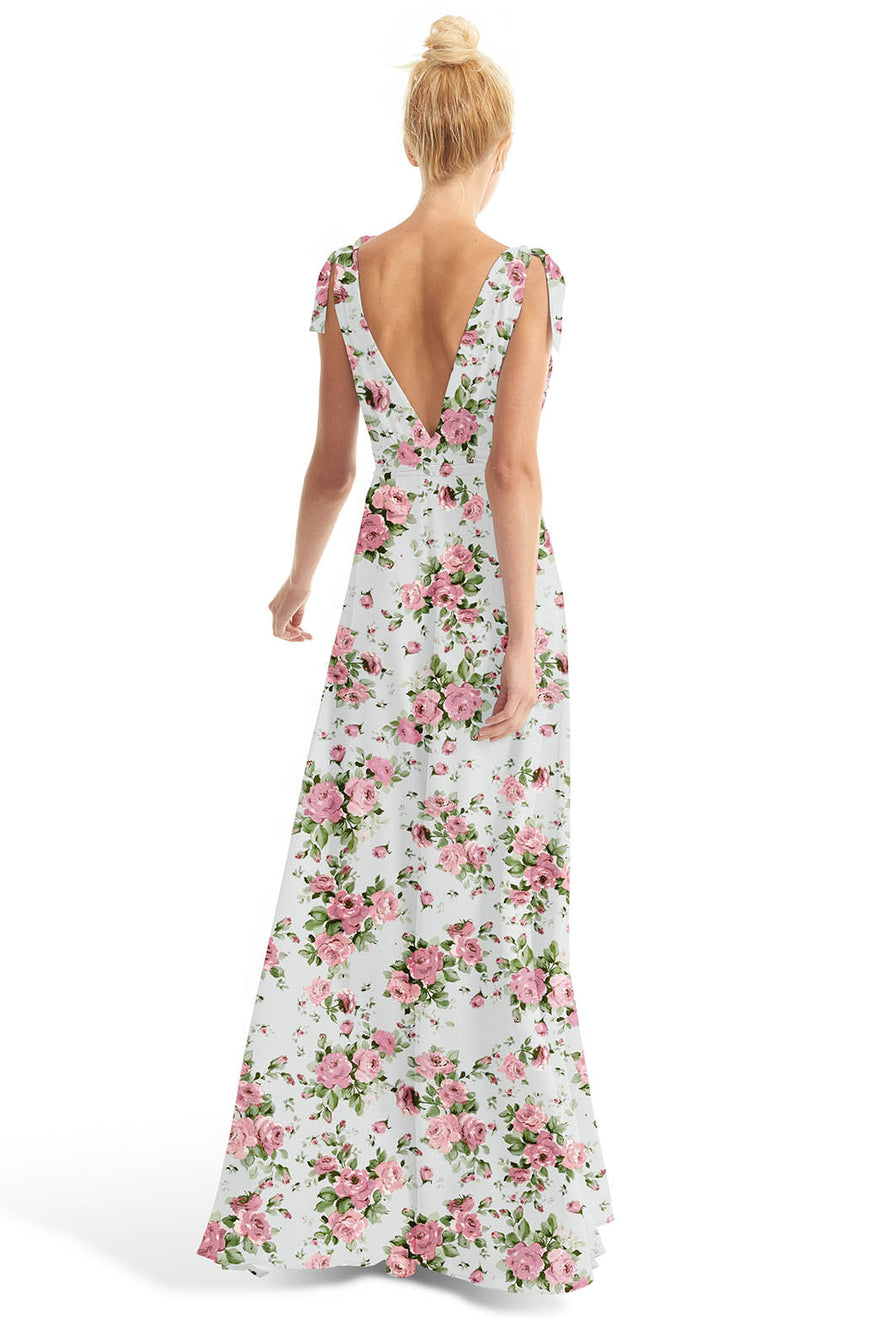 Joanna August Long Bridesmaid  Dress Anna Rose Print-Blue