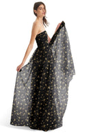 Joanna August Long Bridesmaid Dress Brenda Star Print Black