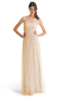 Joanna August Long Bridesmaid Dress Brenda Star Print Champagne