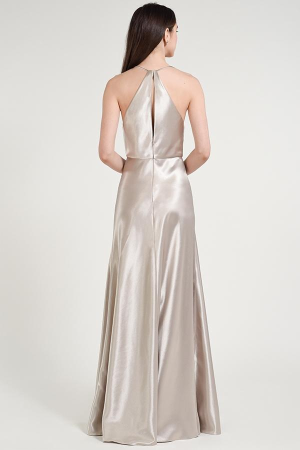 halter neckline with pleated bodice in crepe back satin
