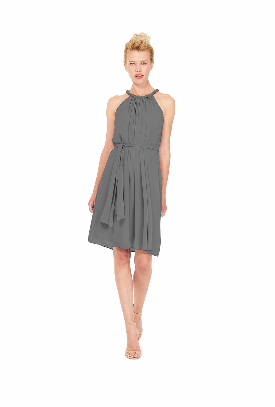 Grey Joanna August Short Bridesmaid Dress Catherine