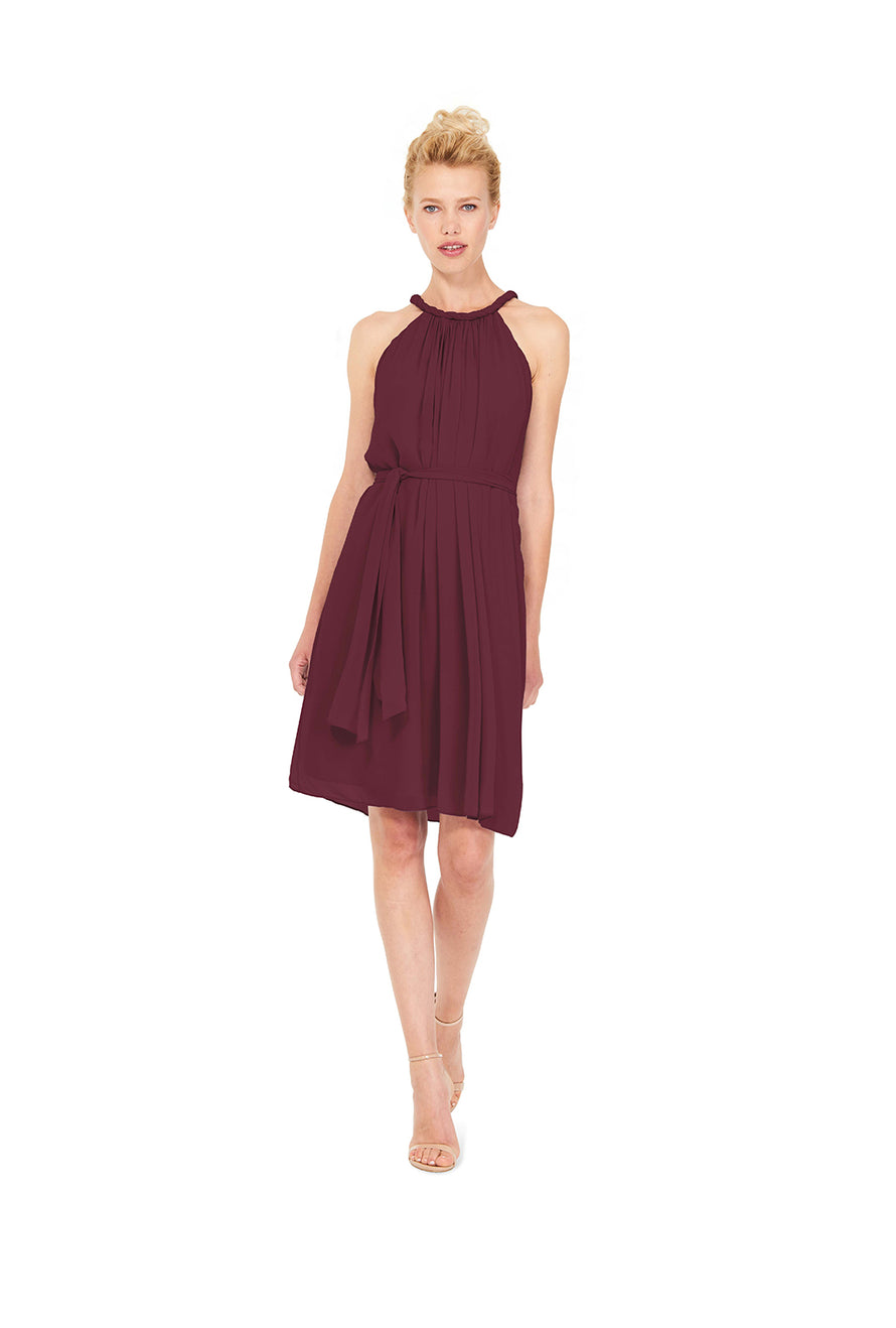 Burgundy Joanna August Short Bridesmaid Dress Catherine