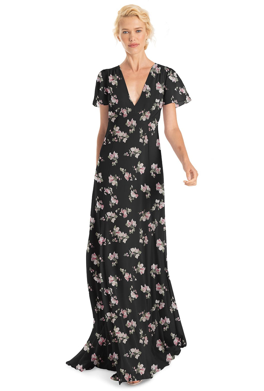 Joanna August Bridesmaid Long Dress Alice Flower Print-Black