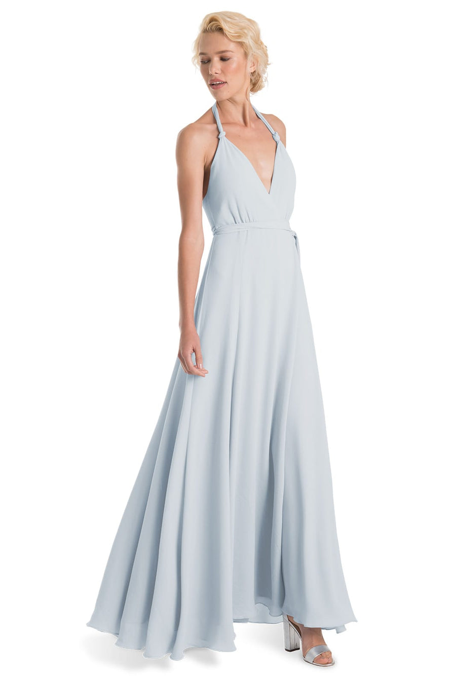 Joanna August Long Bridesmaid Dress Francesca-Whisper Blue