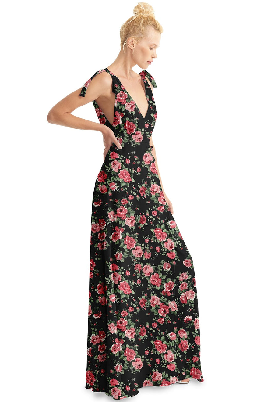 Joanna August Long Bridesmaid  Dress Anna Rose Print-Black