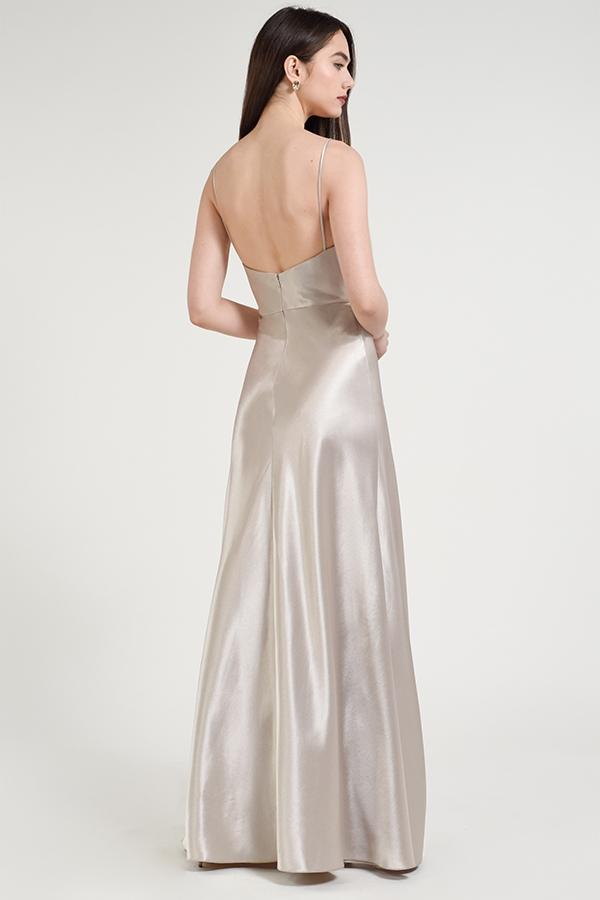 v-neckline spaghetti strap with fitted bodice in glossy crepe back satin