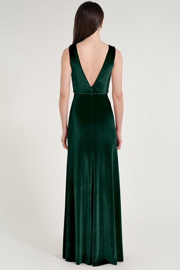 plunging v-neckline in luxe stretch velvet