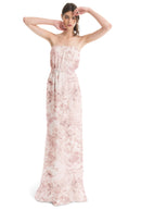 Joanna August Long Bridesmaid Dress Esther Print Blush