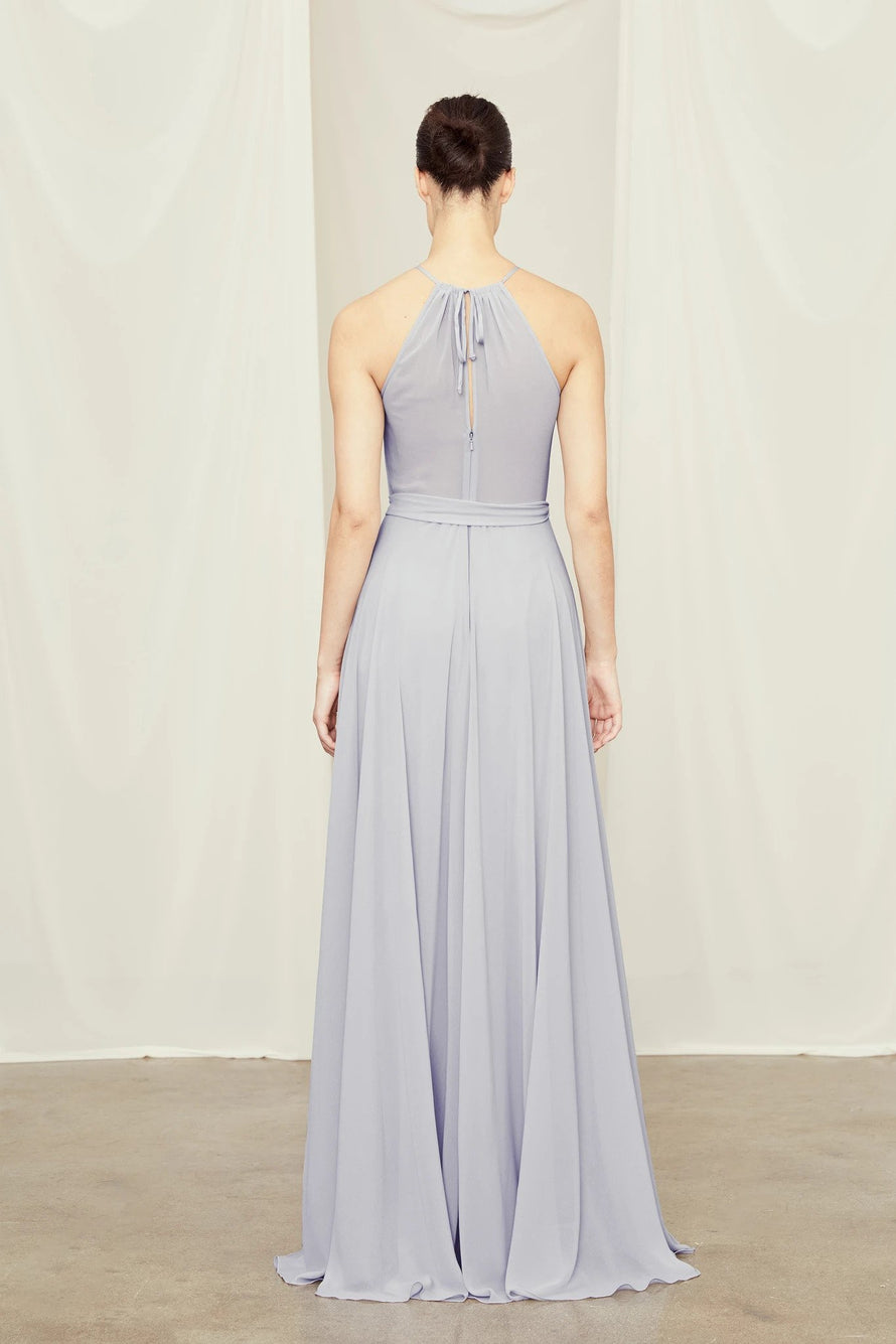 High neckline bridesmaids dress from Amsale Bridesmaids in flat chiffon