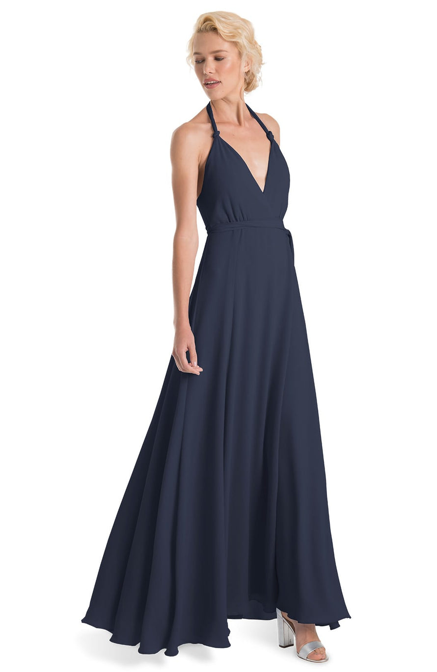 Joanna August Long Bridesmaid Dress Francesca-Navy