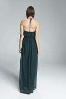 Ruffle halter neckline, Gathered skirt, Open back Natural waist, Flat Chiffon fabric, Floor-length