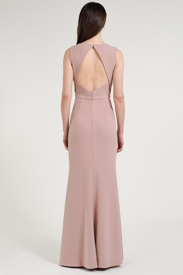 high boat neck with diamond-shaped open back detail in knit crepe