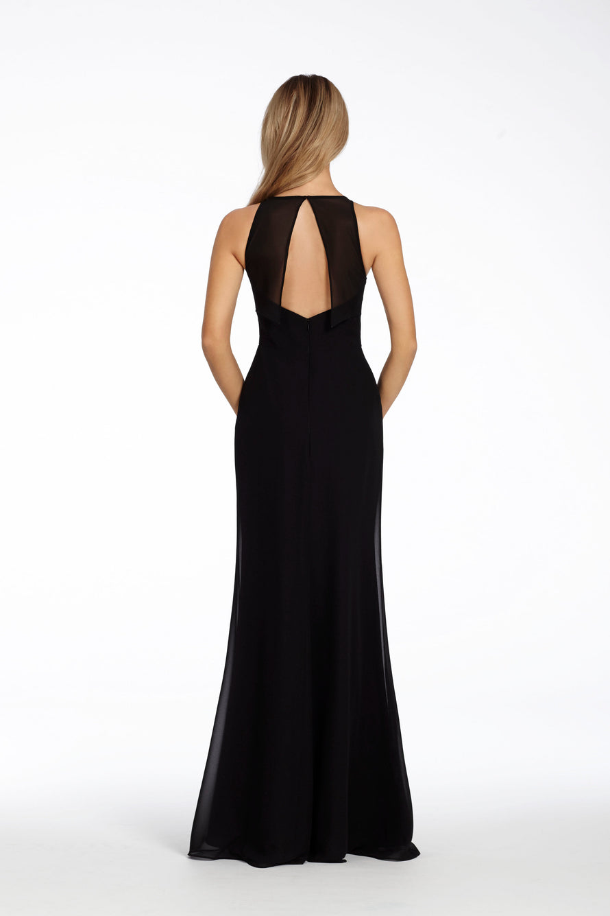 chiffon A-line bridesmaid gown, bateau neckline, back sheer overlay with center slit, natural waist