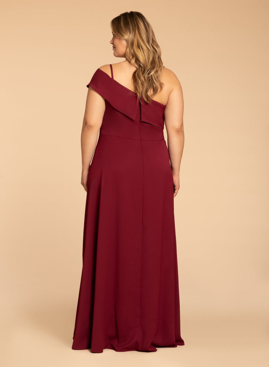 Hayley Paige Occasions Plus Size Long Bridesmaid Dress - w914 back