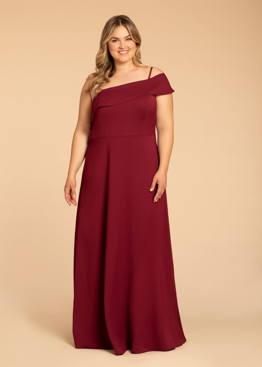 Hayley Paige Occasions Plus Size Long Bridesmaid Dress - w914 front