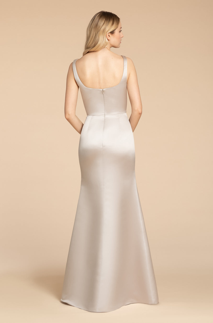 satin trumpet gown, scoop neckline, natural waist