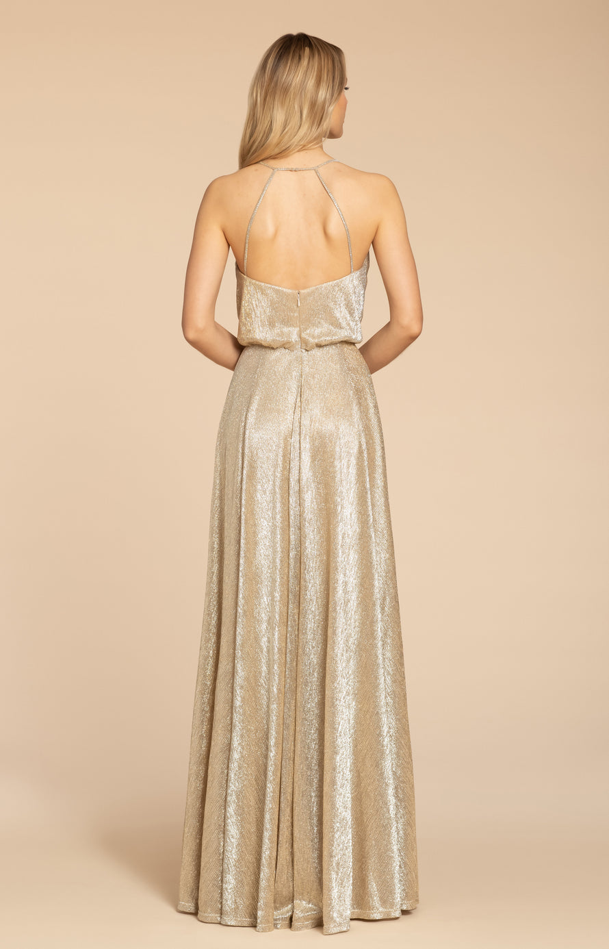 liquid metallic A-line gown, bloused bodice with curved V-neckline, natural waist, circular skirt