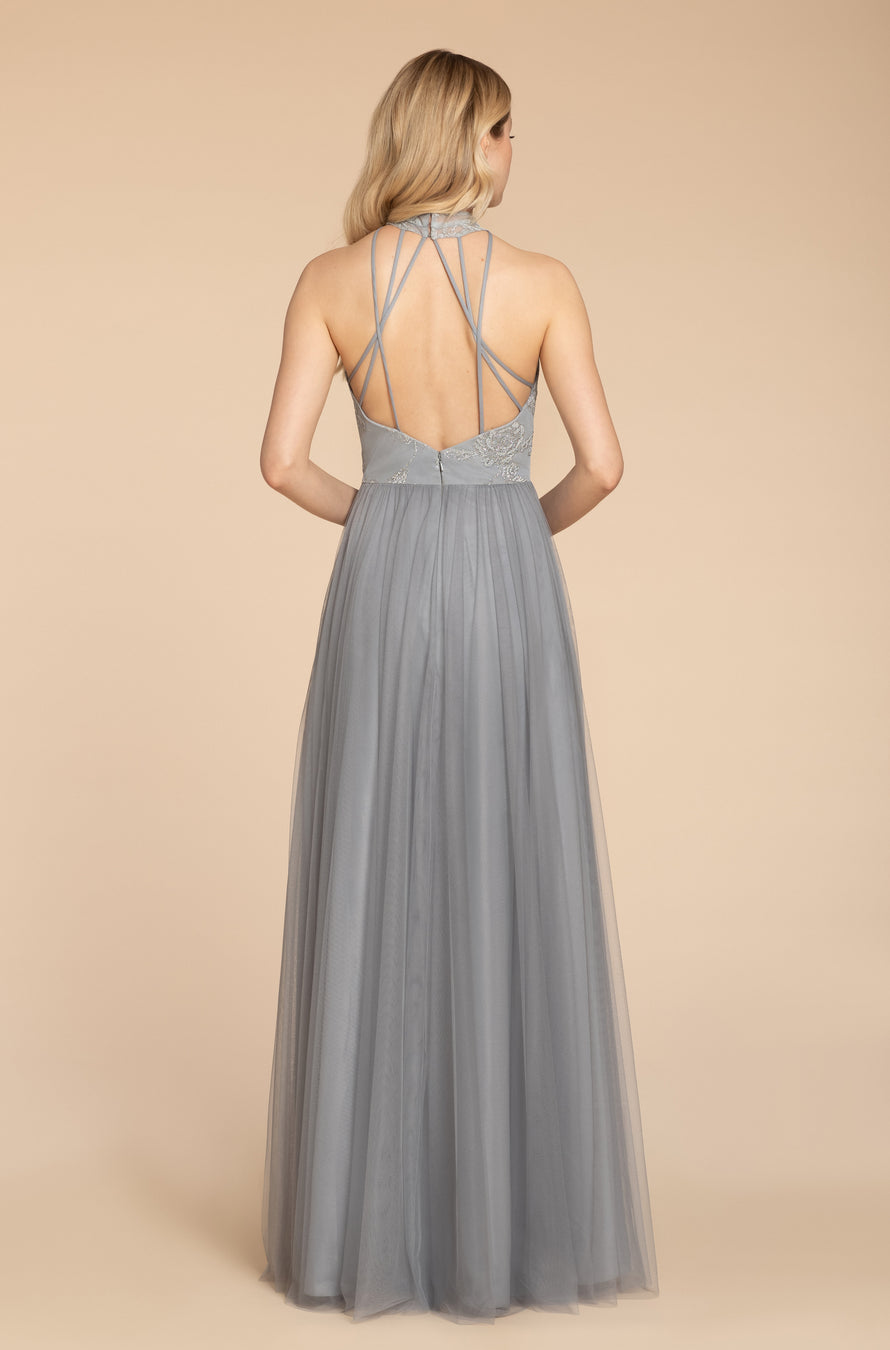 English net A-line gown, caviar high neck illusion neckline, natural waist, crisscross strap detail at back