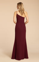chiffon A-line gown, one shoulder neckline, natural waist