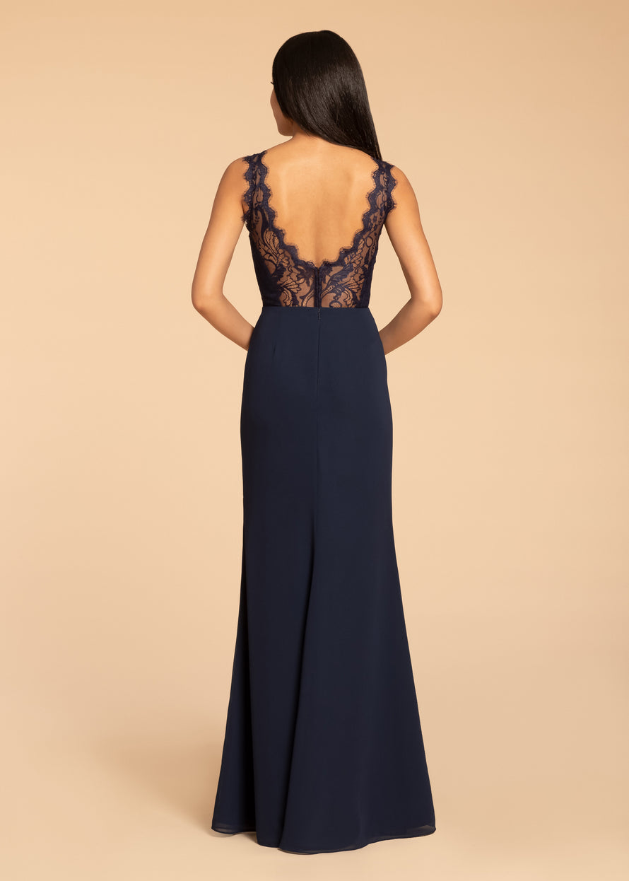 chiffon A-line gown, lace bodice, V-neckline with scallop trim and illusion detail, natural waist, sheer lace back