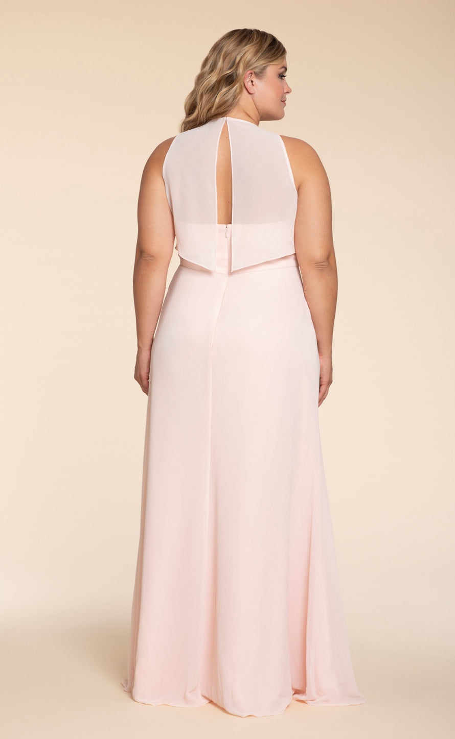 Hayley Paige Occasions Plus Size Long Bridesmaid Dress - w714 back