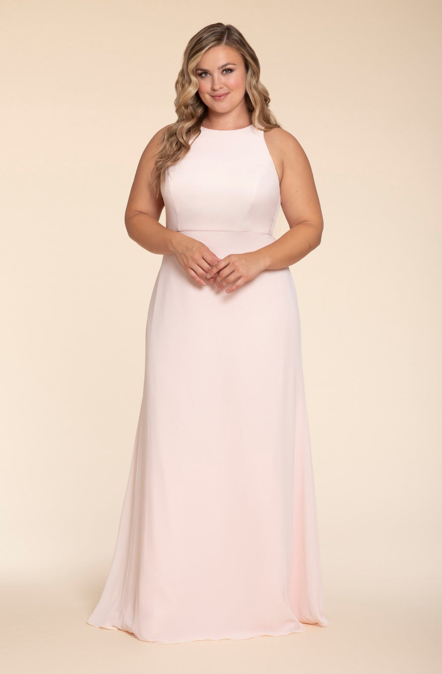 Hayley Paige Occasions Plus Size Long Bridesmaid Dress - w714 front