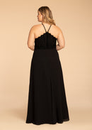 Hayley Paige Occasions Plus Size Long Bridesmaid Dress - w715 back