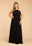 Hayley Paige Occasions Plus Size Long Bridesmaid Dress - w715 front