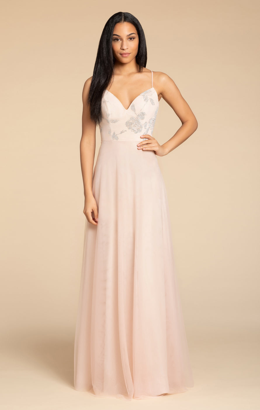 Hayley Paige Occasions Long Bridesmaid Dress - 5903 front