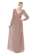 Brown Long Bridesmaid Dress