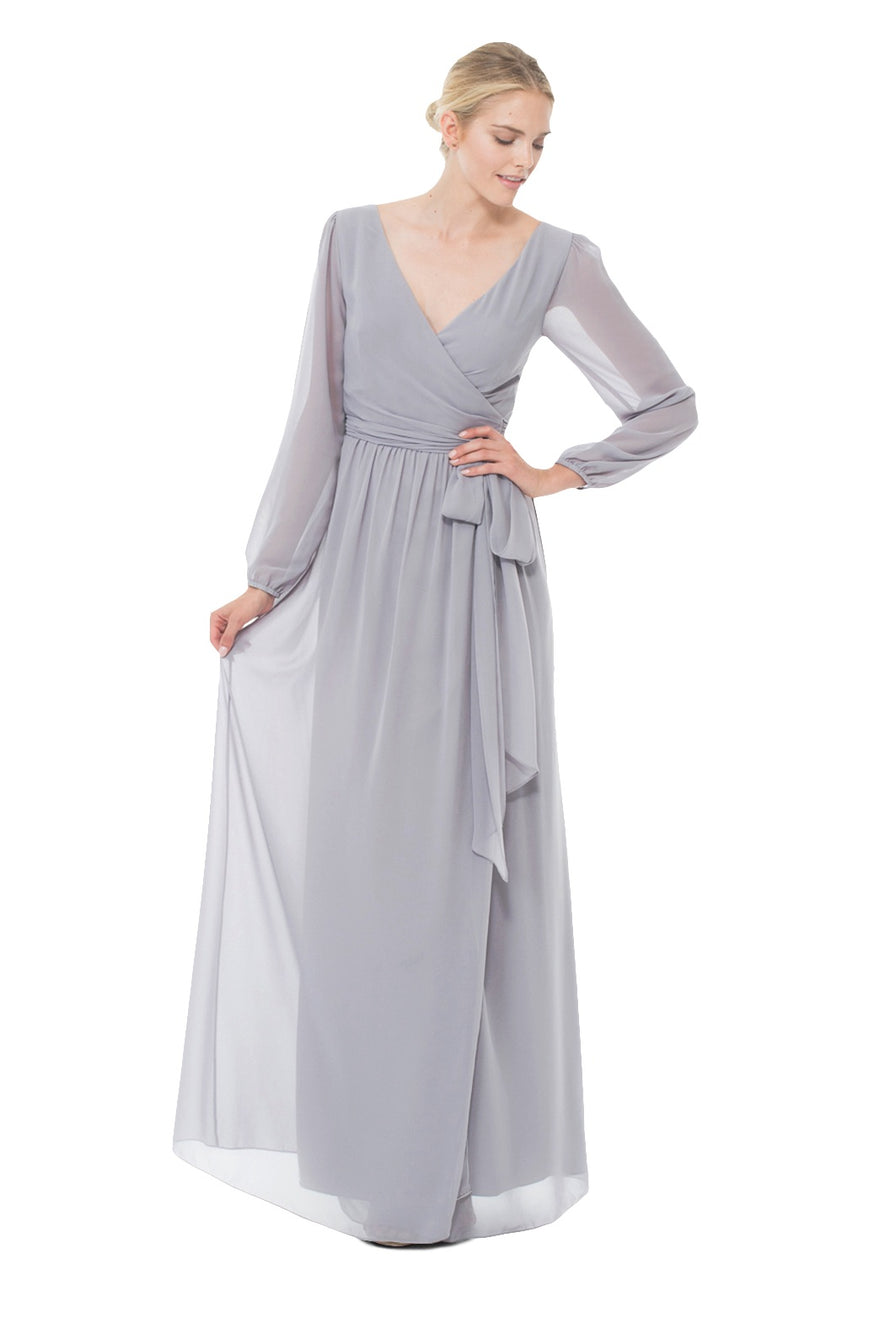 Joanna August Long Bridesmaid Dress Holly Silver