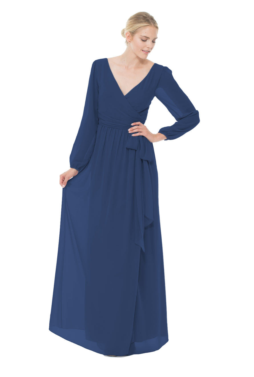 Navy Blue Long Bridesmaid Dress