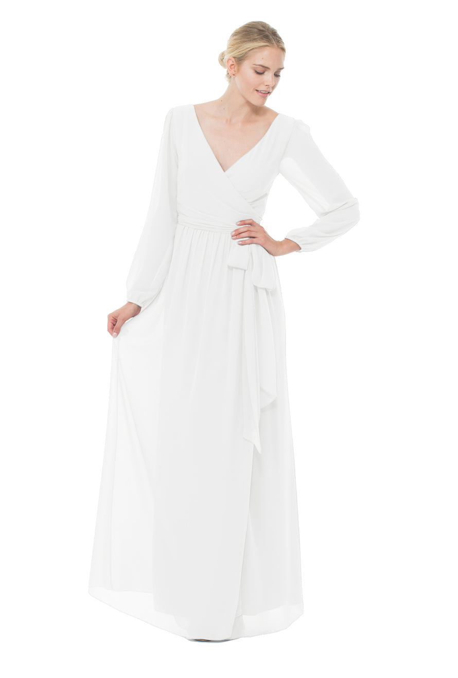 Long-sleeve V-neck pleated bodice wrap dress