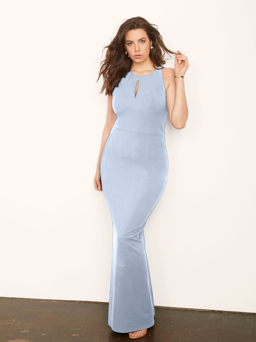 Light Blue Altress Jenny Keyhole Long Bridesmaid Dress