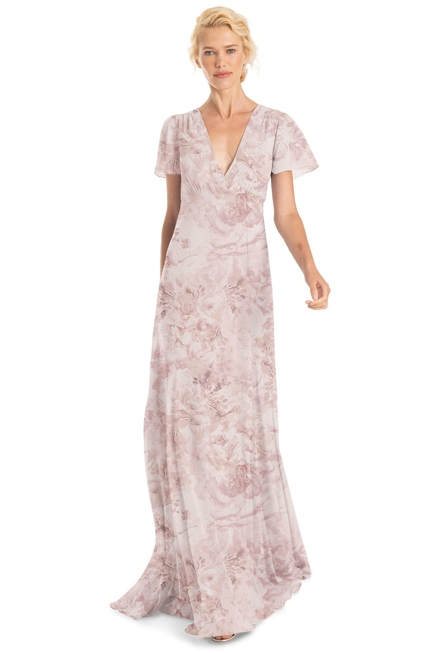 Joanna August Bridesmaid Long Dress Alice Print-Blush