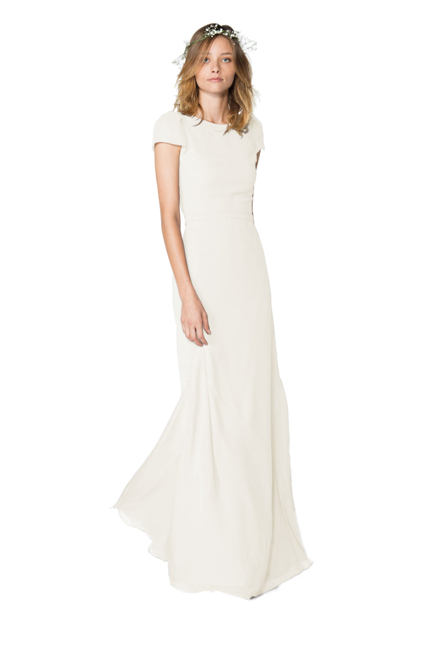 Cap sleeves, a high neckline in front bridesmaid dress