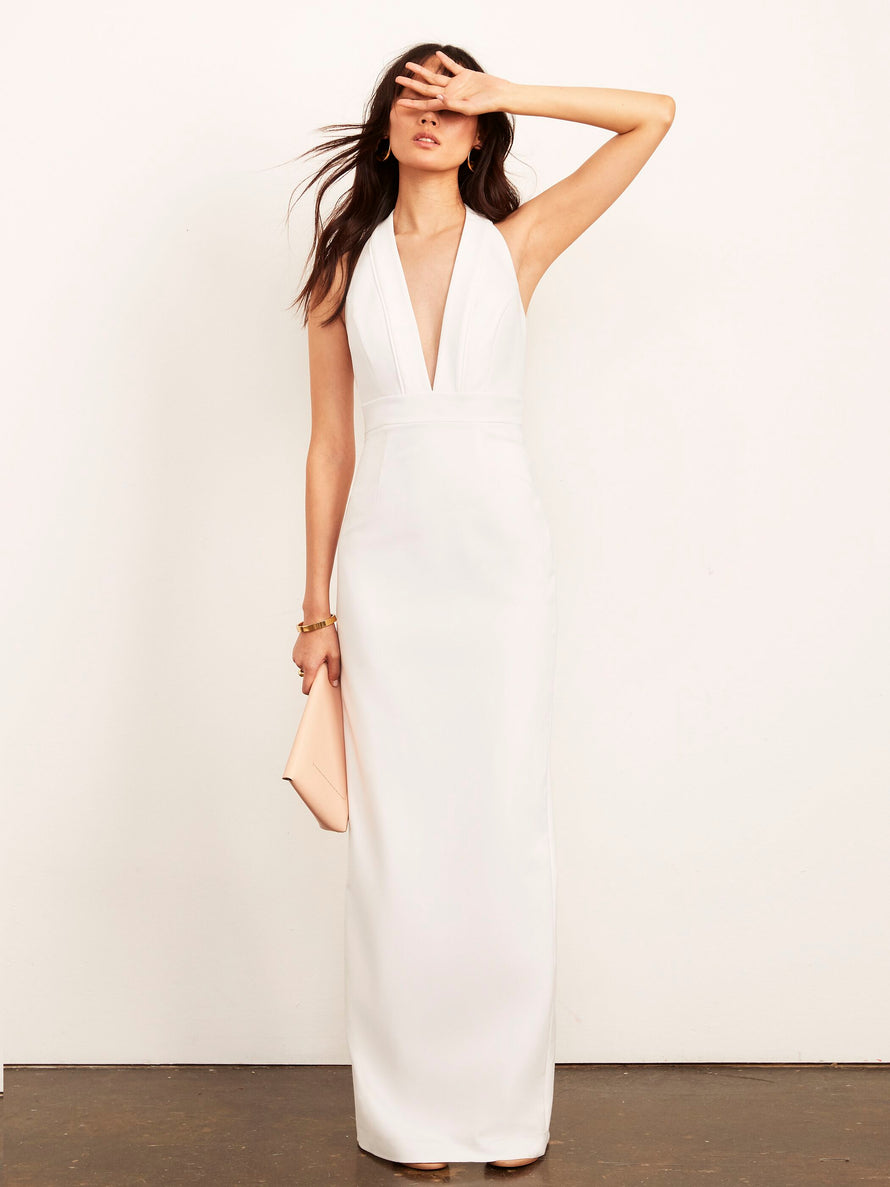 White Altress Kimberly Plunging Halter Long Bridesmaid Dress