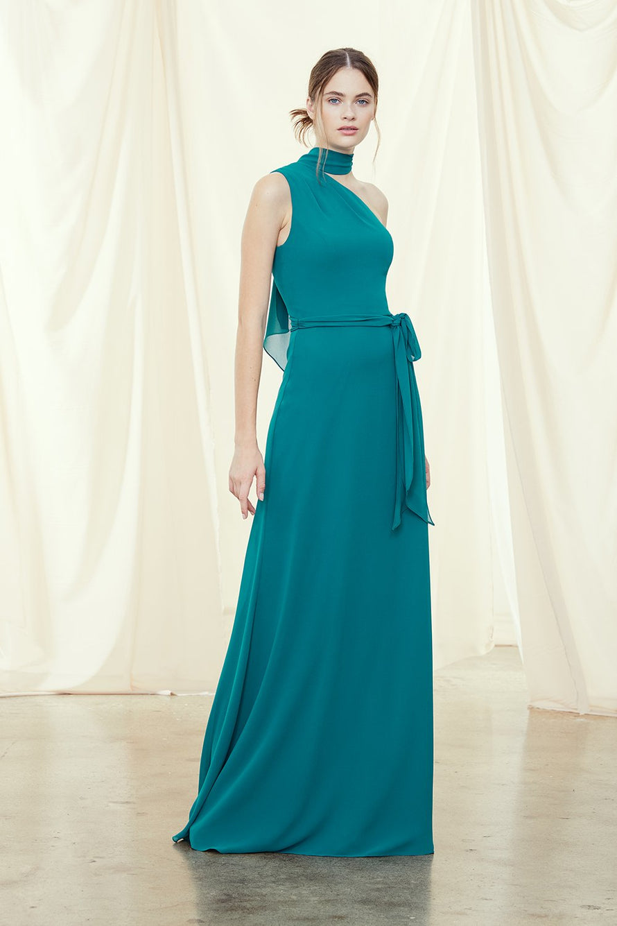 One-shoulder bridesmaids dress with scarf tie neckline and circle skirt in chiffon