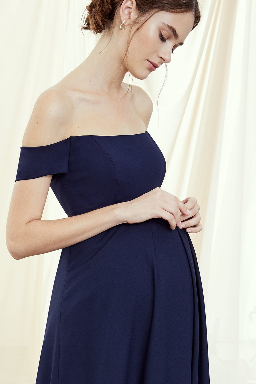 Off the shoulder, maternity bridesmaids dress with pleated skirt in crepe