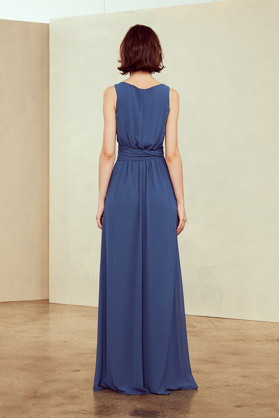 Surplice bodice, V-neckline with waist tie, Full coverage back, Flat chiffon, Sleeveless, Floor-length