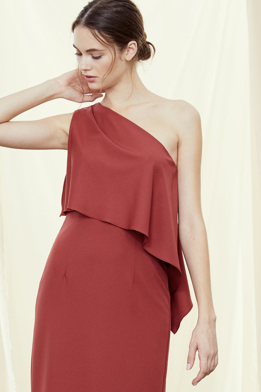 One-shoulder bridesmaids dress with asymmetrically draped bodice in crepe