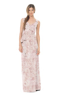 Joanna August Long Bridesmaid Dress Lacey Print-Blush