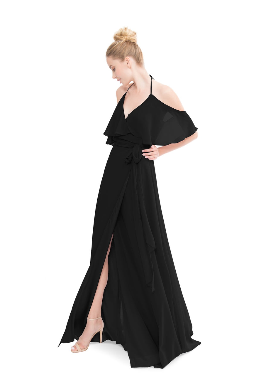 Black Joanna August Long Bridesmaid Dress Lauren