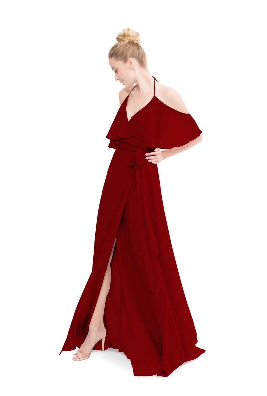 Merlot Joanna August Long Bridesmaid Dress Lauren