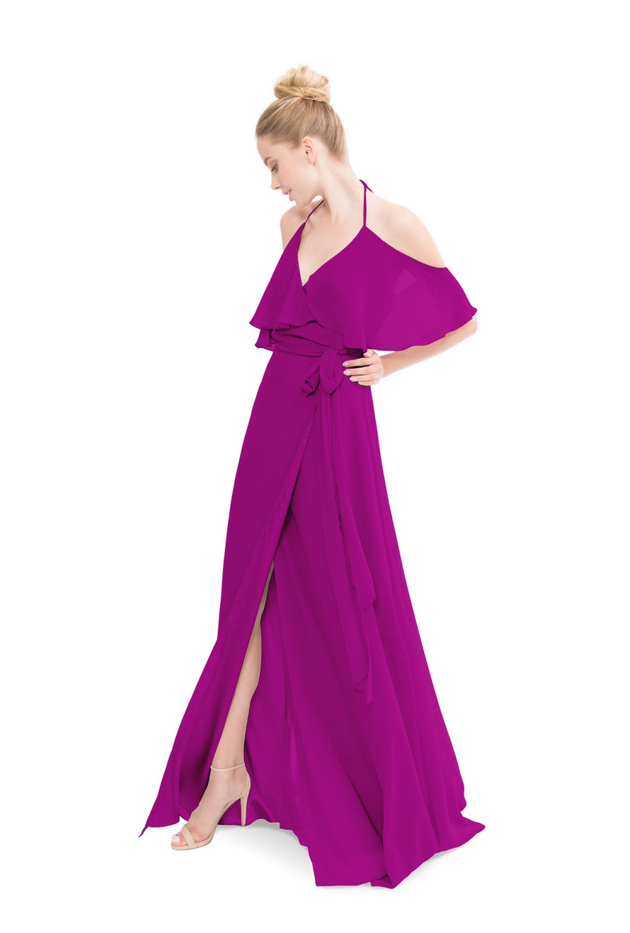 Fuchsia Pink Joanna August Long Bridesmaid Dress Lauren