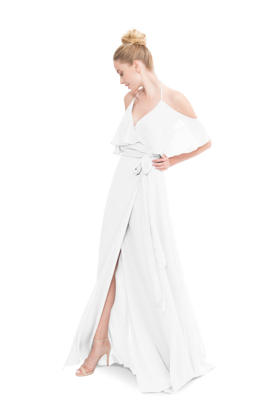 White Long Bridesmaid Dress Chiffon