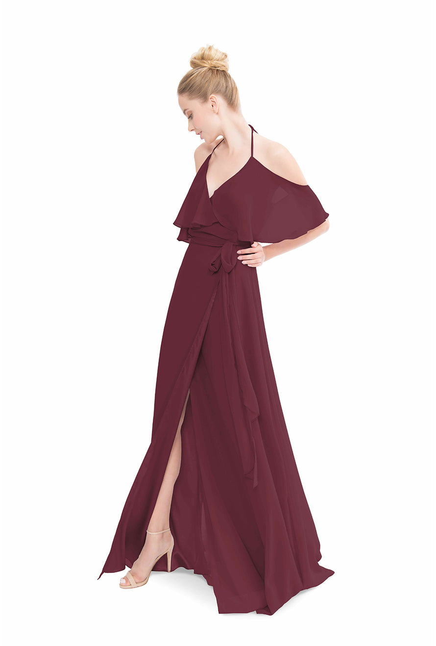 Burgundy Joanna August Long Bridesmaid Dress Lauren