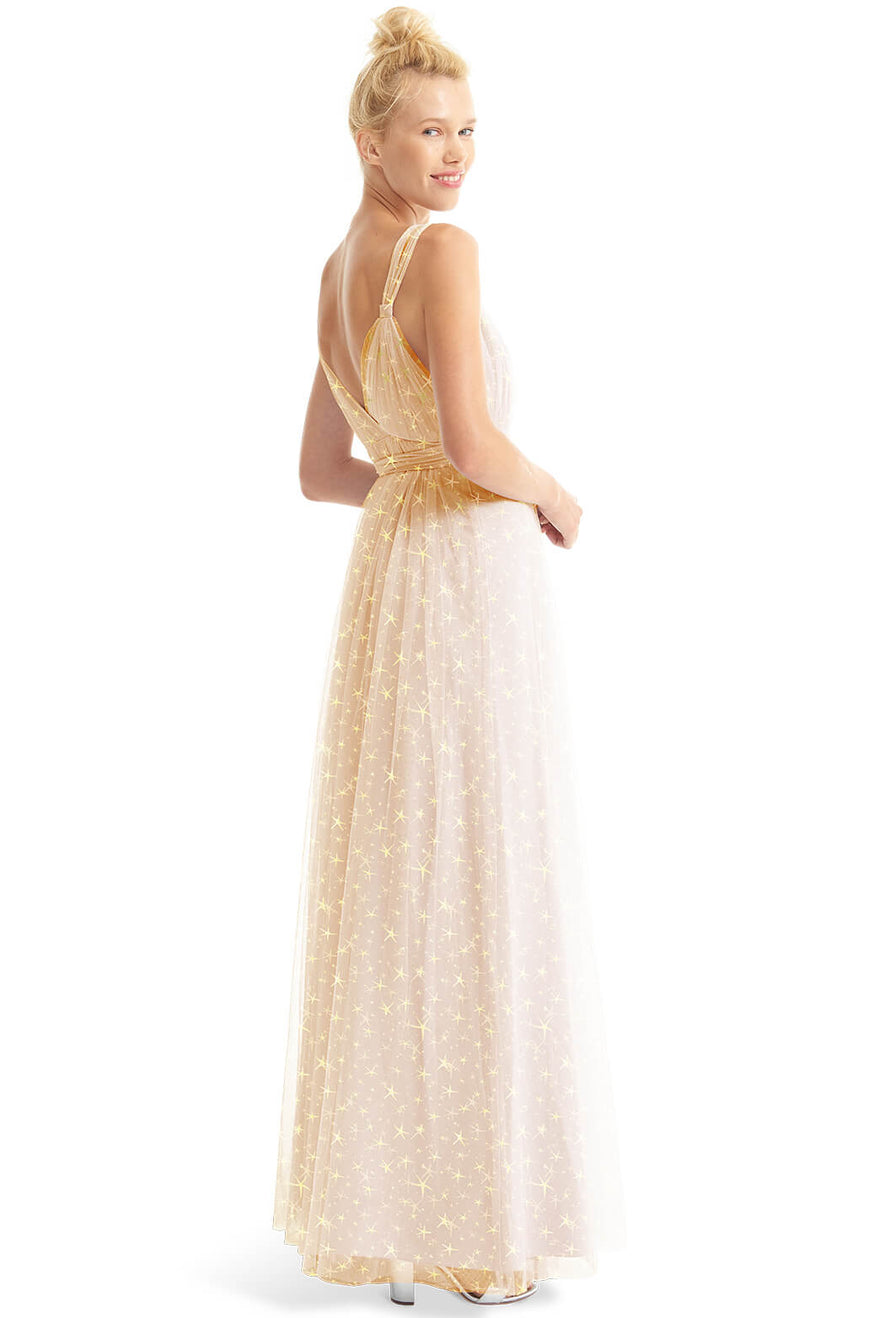 Joanna August Long Bridesmaid Dress Lindsey Star Print-Champagne