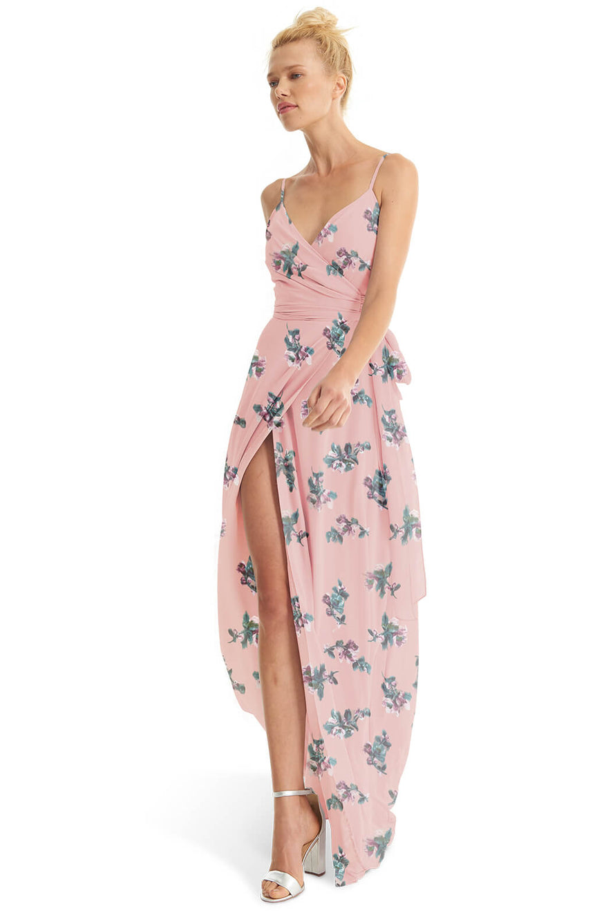 Joanna August Long Bridesmaid Dress Mandy Flower Print-Pink
